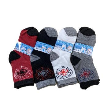 3pr Boy's Quarter Socks 4-6 [Spider/Web]